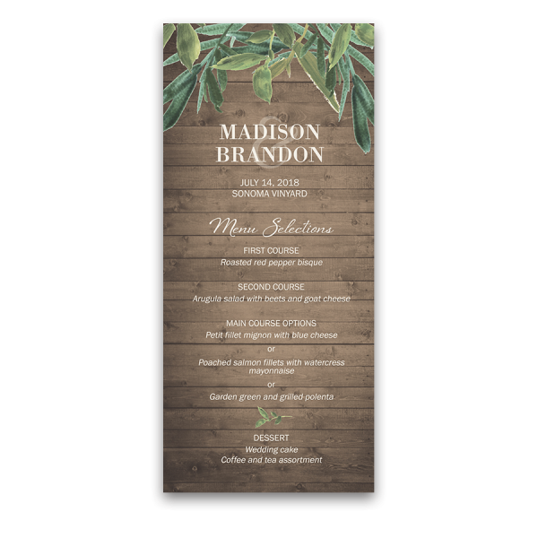 Custom Wedding Menu Rustic Barn Wood and Greenery
