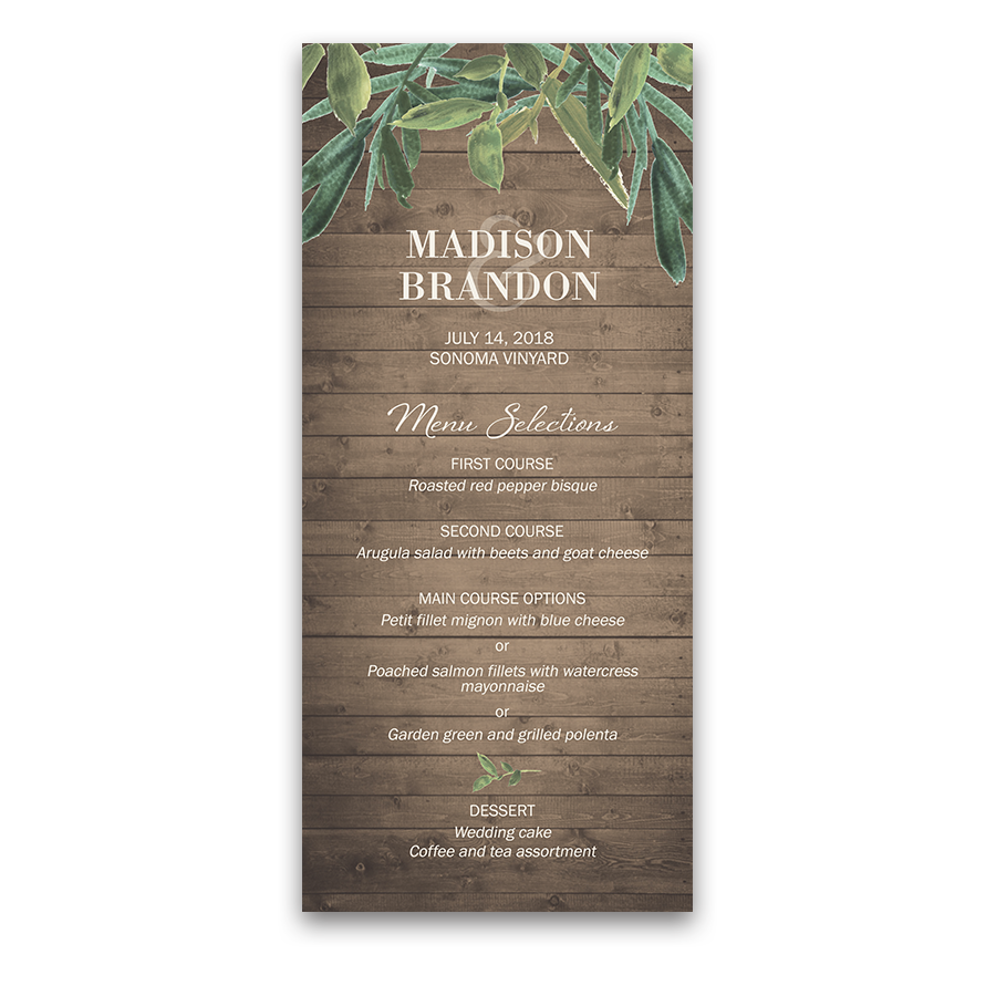 Custom Wedding Menu Rustic Barn Wood and Greenery