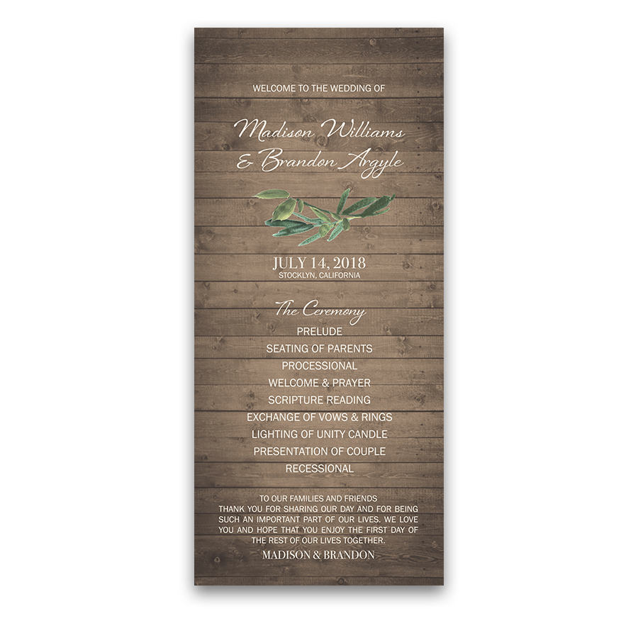 Rustic Wood Greenery Wedding Order of Service Program