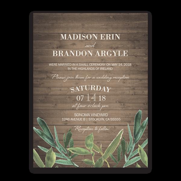 Rustic Greenery Watercolor Wedding Reception Invitation