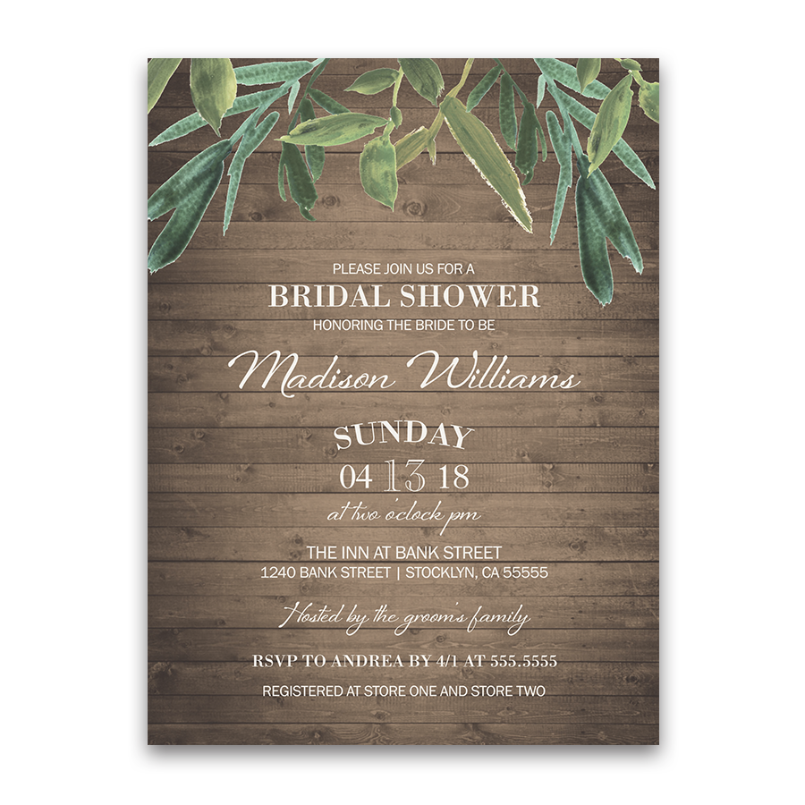 Rustic Wood Slat Greenery Bridal Shower Invitations