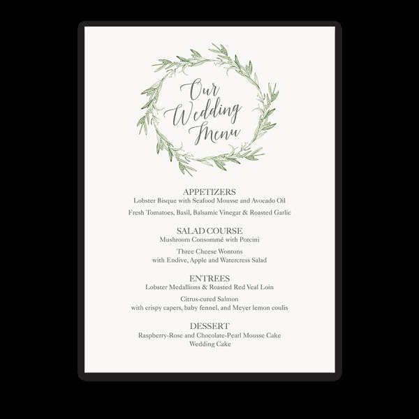 Watercolor Wreath Laurel Greenery Wedding Menu