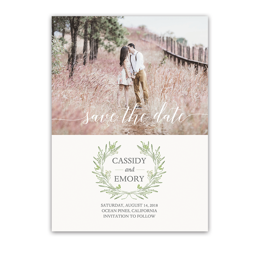 Laurel Leaves Wreath Wedding Photo Save the Date
