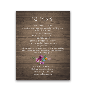 Rustic Purple Floral Wedding Guest Information Card