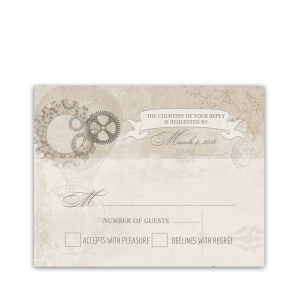 Steampunk Wedding Vintage Industrial Chic RSVP Card