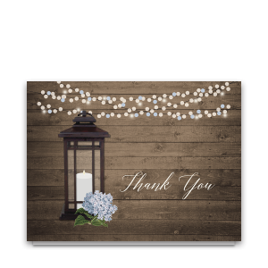 Rustic Metal Lantern Folded Wedding Thank You Cards