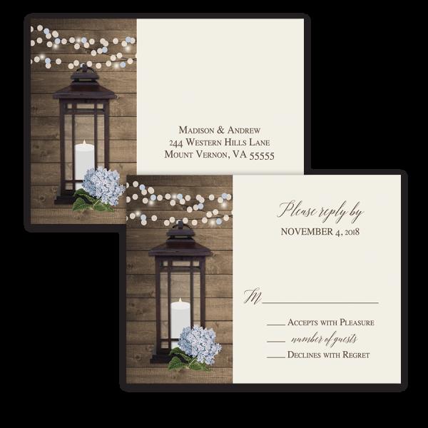 Rustic Floral Metal Lantern Wedding RSVP Postcard