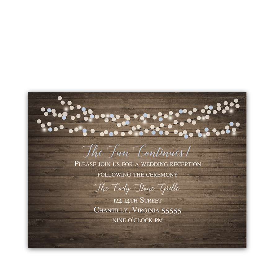 Rustic Barn Wood Pale Blue Wedding Reception Card
