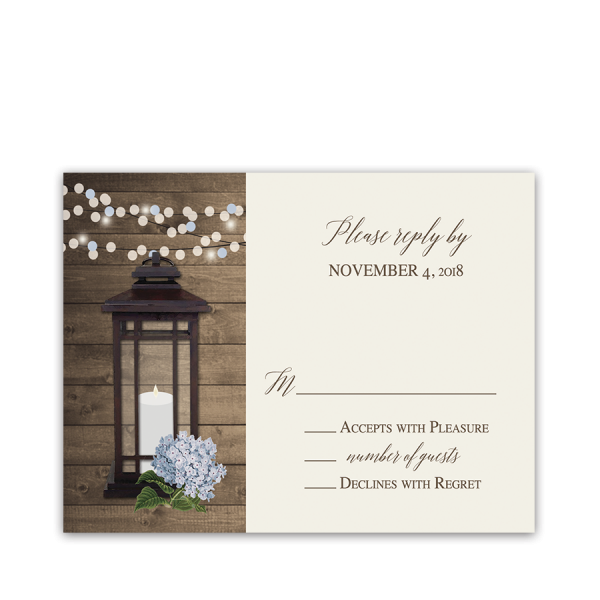 Rustic Metal Lantern Floral Wedding RSVP Reply Cards
