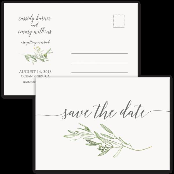 Laurel Leaves Greenery Wedding Save the Date Postcard