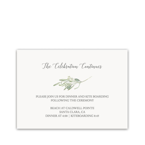 Laurel Greenery Wedding Reception Information Card