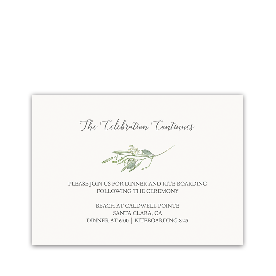 Laurel Greenery Wedding Reception Information Card