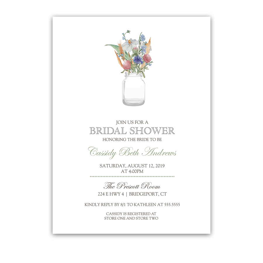 Mason Jar with Wildflowers Floral Bridal Shower Invite