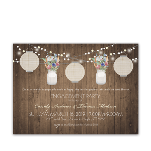 Rustic Engagement Party Invitations Paper Lanterns