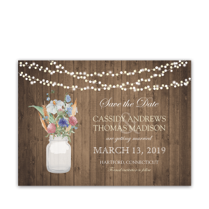 Mason Jar Wildflowers Save the Date Cards