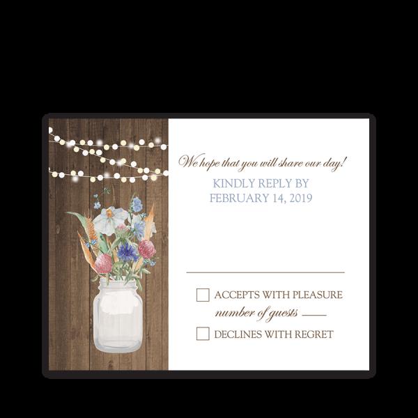 Rustic Mason Jar Wildflowers Floral Wedding RSVP