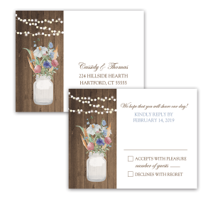 Rustic Mason Jar Wildflowers Wedding RSVP Postcard