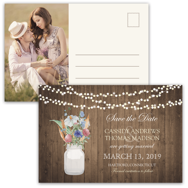 Rustic Mason Jar Wildflowers Save the Date Postcard
