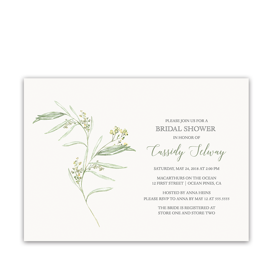 Greenery Pale Yellow Yarrow Bridal Shower Invitations