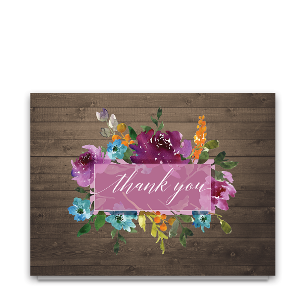 Rustic Purple Watercolor Floral Wedding Thank You Card