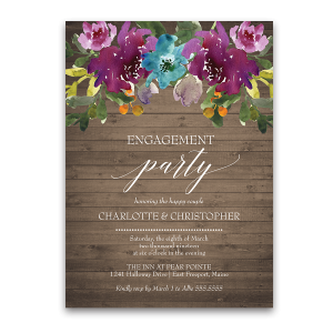 Purple Watercolor Flowers Engagement Party Invite