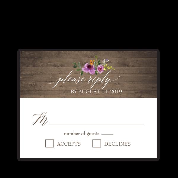 Rustic Purple Floral Wedding RSVP Response Cards