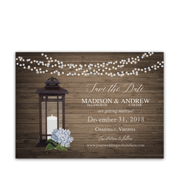 Rustic Chic Lantern Wedding Save the Date Cards