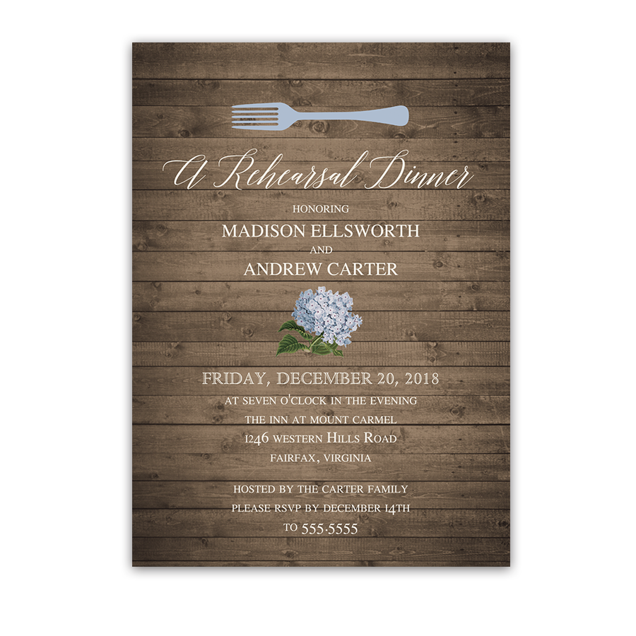 Pale Blue Floral Wedding Rehearsal Dinner Invitations