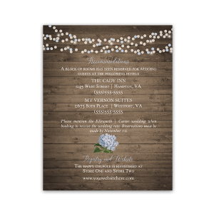 Rustic Hydrangea Wedding Additional Information Cards