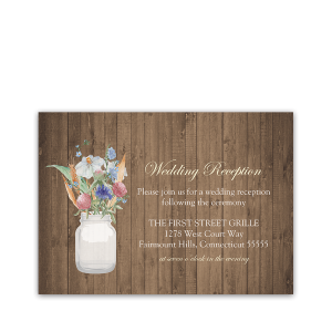 Rustic Mason Jar Wildflower Wedding Reception Card