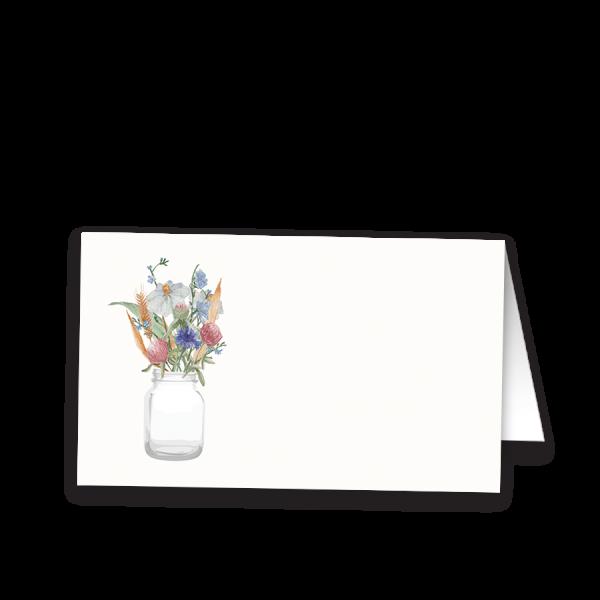 Mason Jar and Wildflower Wedding Table Seating Card