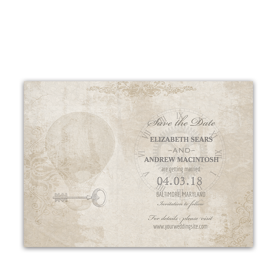 Steampunk Wedding Vintage Industrial Chic Save the Date
