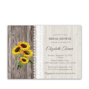 Sunflower and Lace Rustic Bridal Shower Invitation