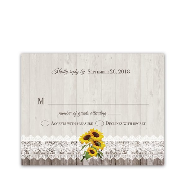 Rustic Sunflower Wedding RSVP Response Cards