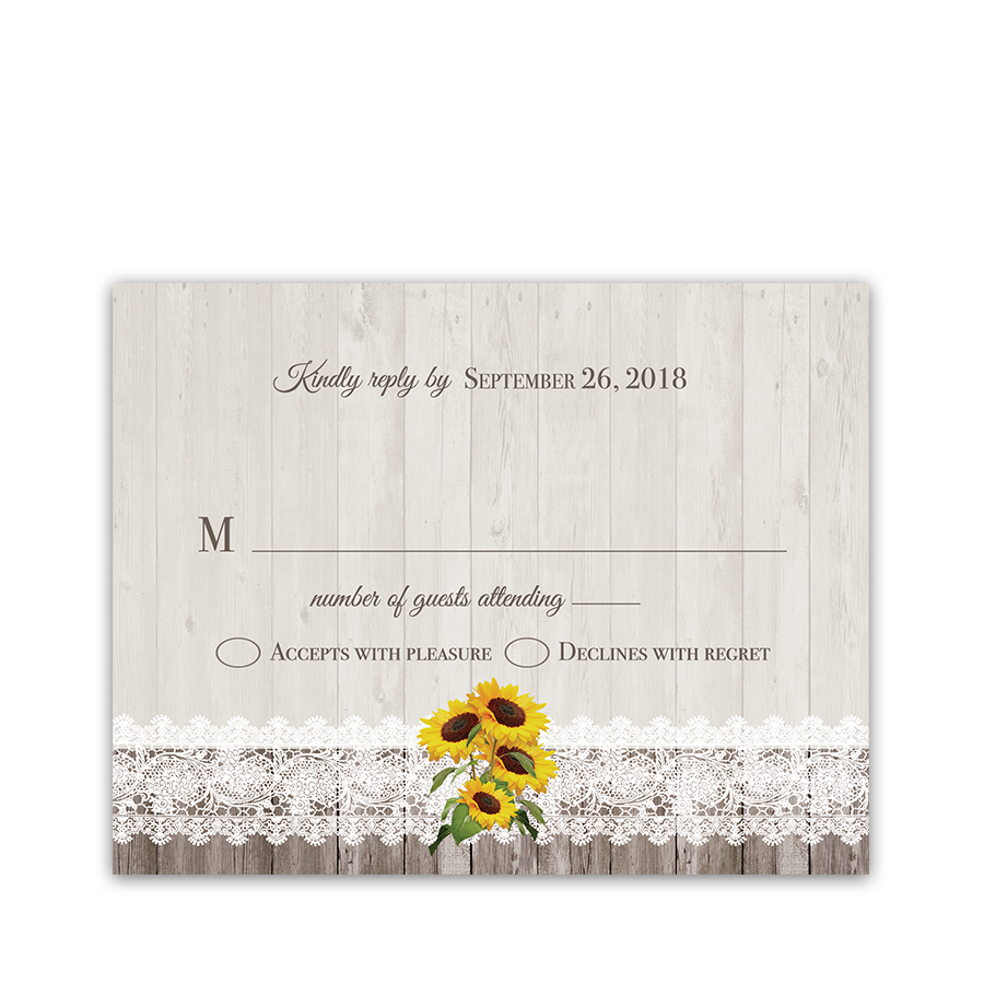 Rustic Sunflower Wedding RSVP Response Cards