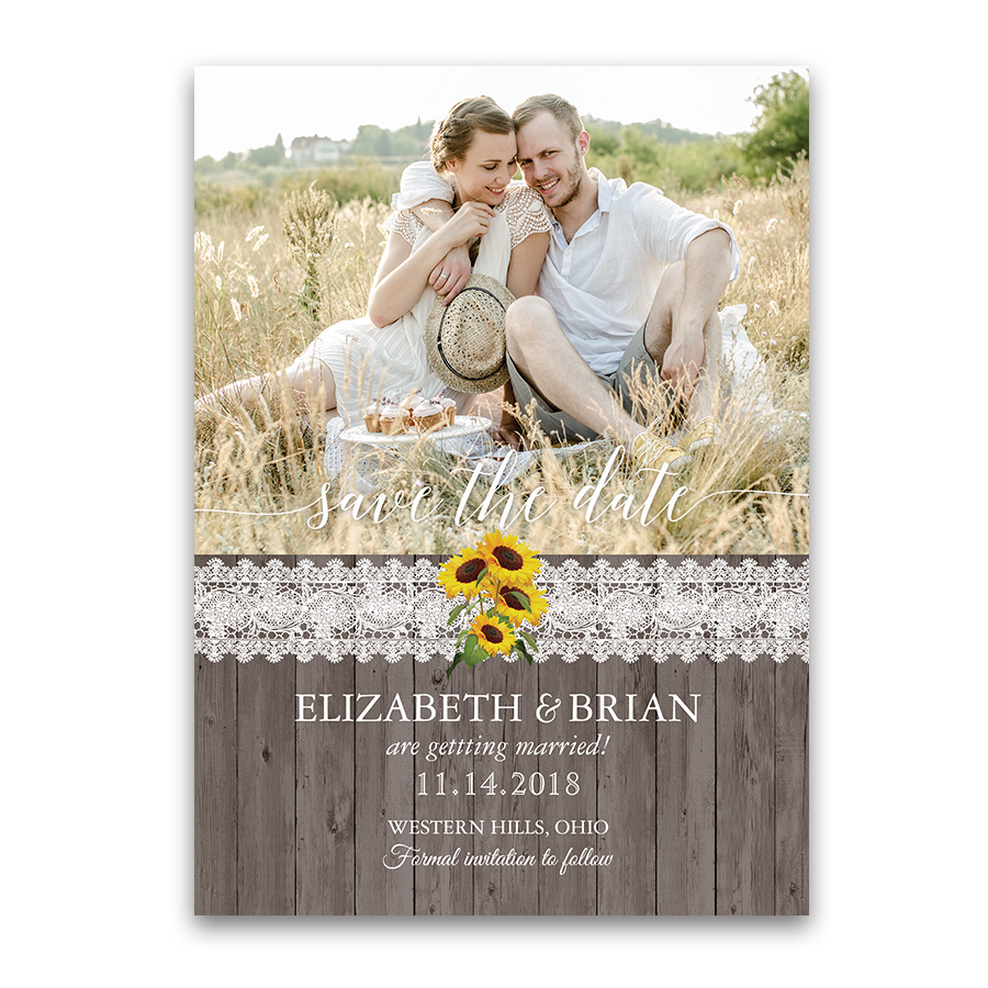 Sunflower Country Wedding Photo Save the Date Cards
