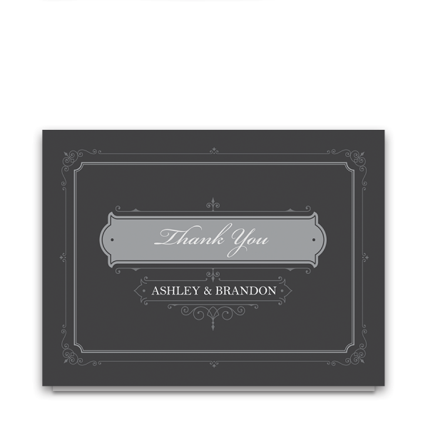Vintage Gray Wedding Industrial Style Thank You Card