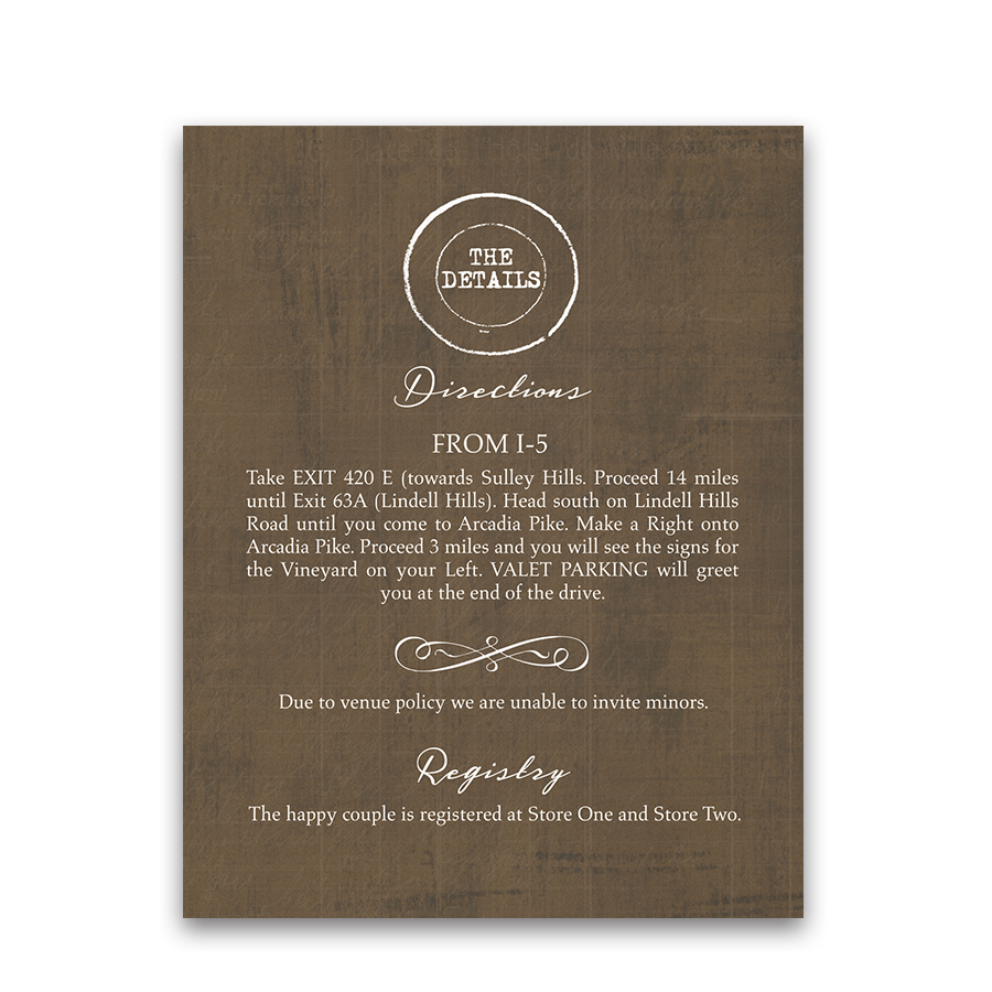 Vineyard Wedding Additional Information Insert Cards