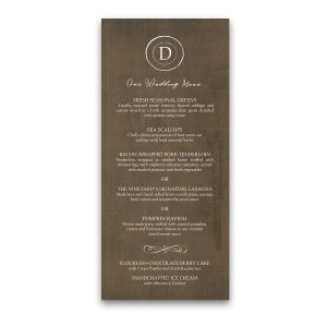 Rustic Monogram Winery Wedding Menu