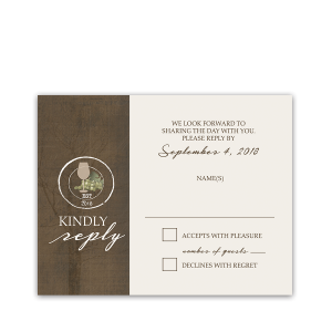 Rustic Vineyard Vintage Wine Glass Wedding RSVP Cards