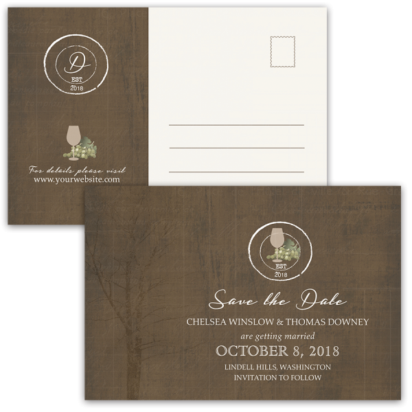 Vineyard Winery Wedding Save the Date Postcard