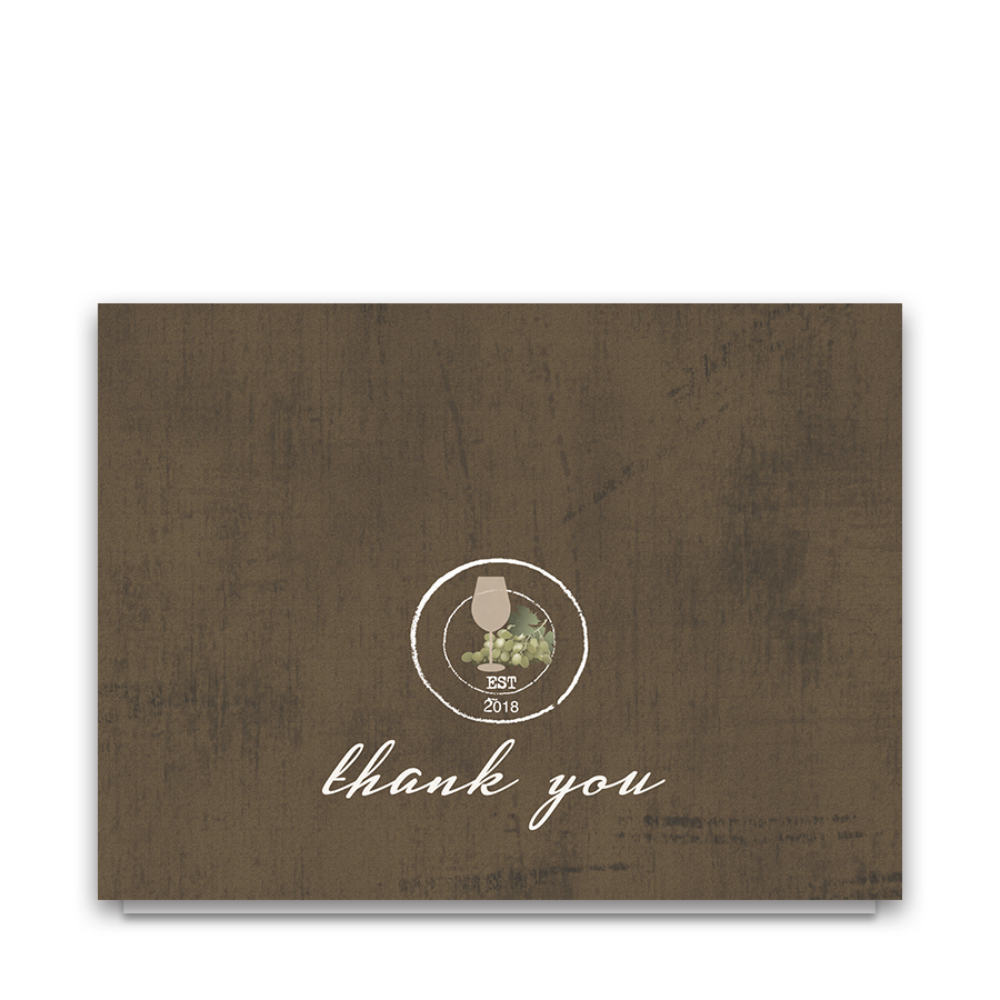 Rustic Vineyard Vintage Wedding Thank You Notes
