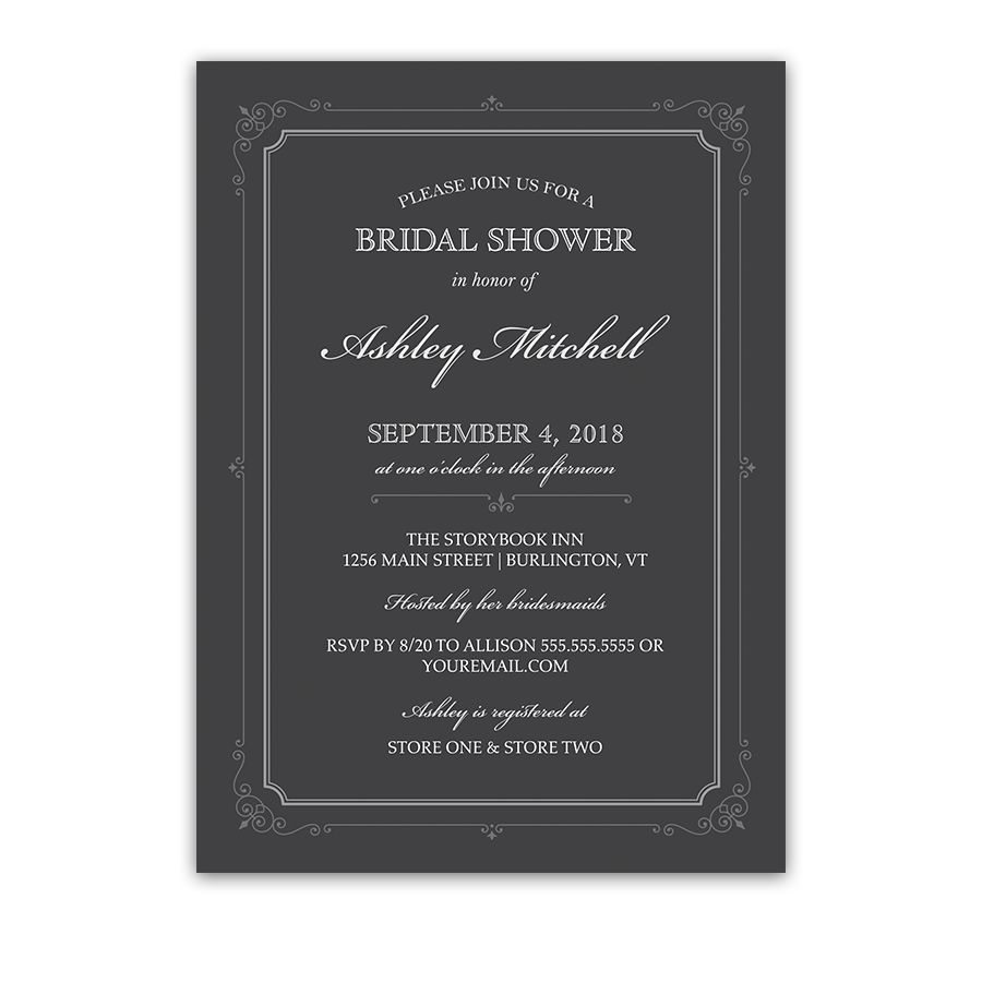 Vintage Border Scrolls Gray Bridal Shower Invitations