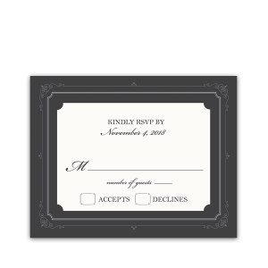 Vintage Scrolls Gray Wedding RSVP Response Cards