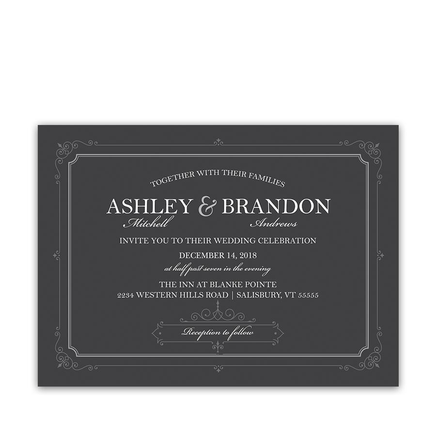 Vintage Industrial Border Scrolls Gray Wedding Invitation