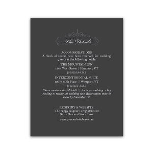 Vintage Gray Wedding Guest Information Cards