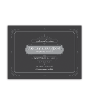Unique Vintage Scrolls Gray Wedding Save the Date Card