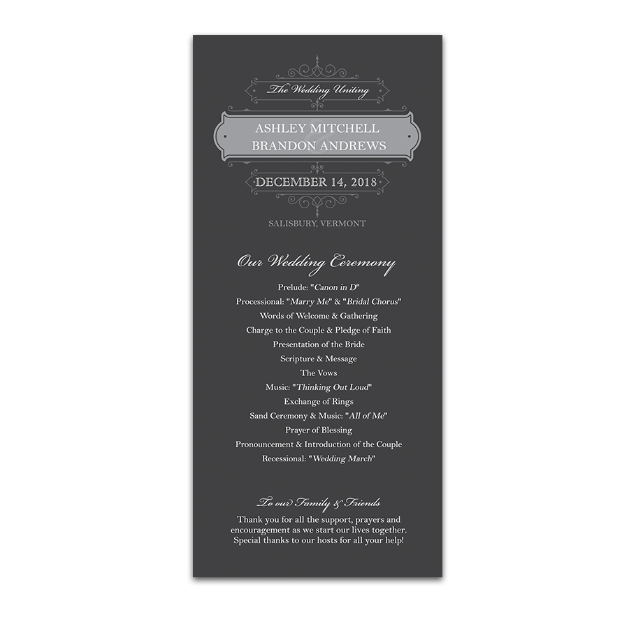 Vintage Scrolls Charcoal Wedding Order of Service