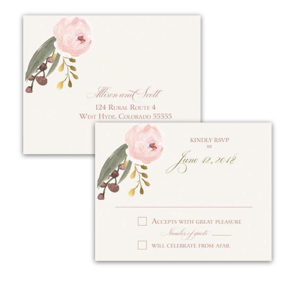 Blush Gold Floral Bohemian Wedding RSVP Postcard