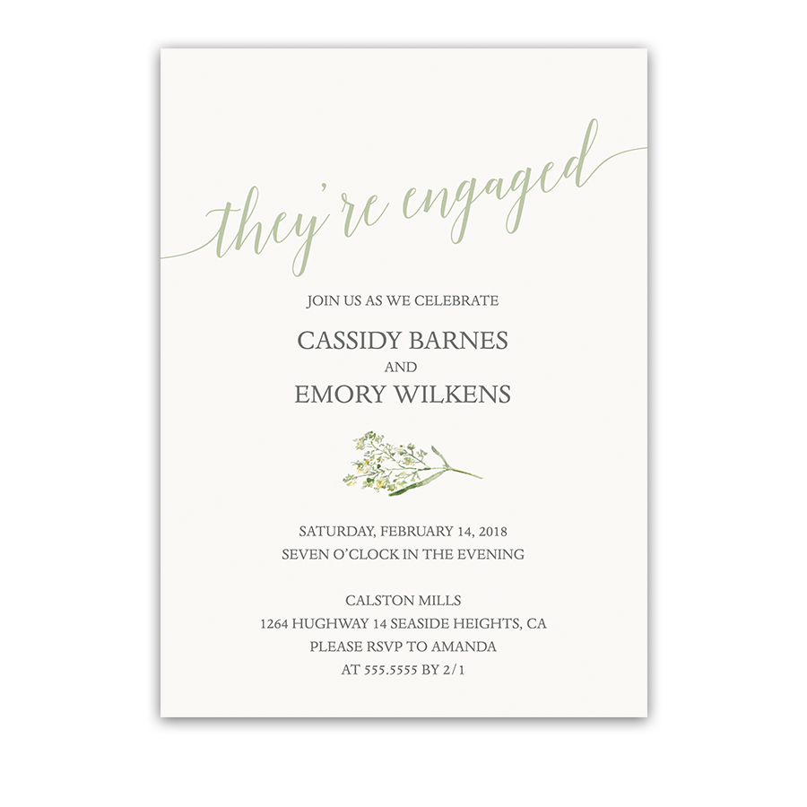 Laurel and Yarrow Greenery Engagement Party Invite